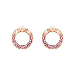 Snaketric Disc Earrings Rose Gold with Pink Sapphires and Pink Pearls