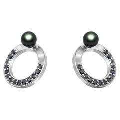 Snaketric Disc Earrings Sterling Silver with Black Diamonds and Black Pearls
