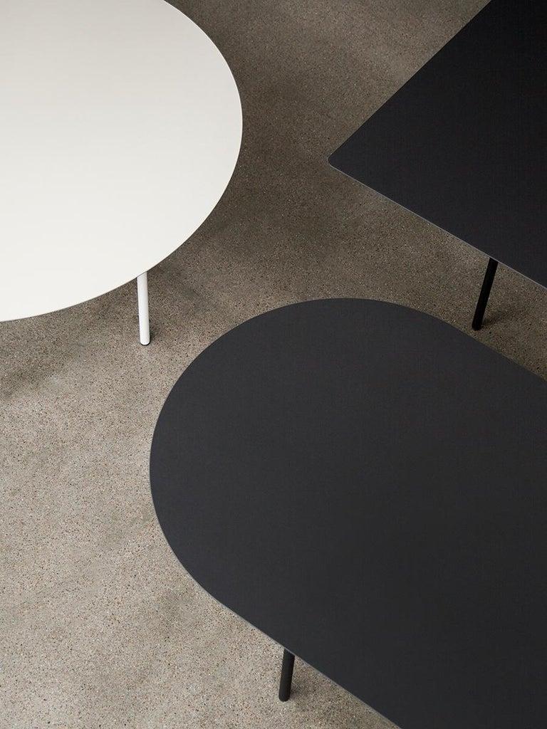 Scandinavian Modern Snaregade Table, Round 54 in, Light Grey/Mushroom Linoleum, 2018 For Sale