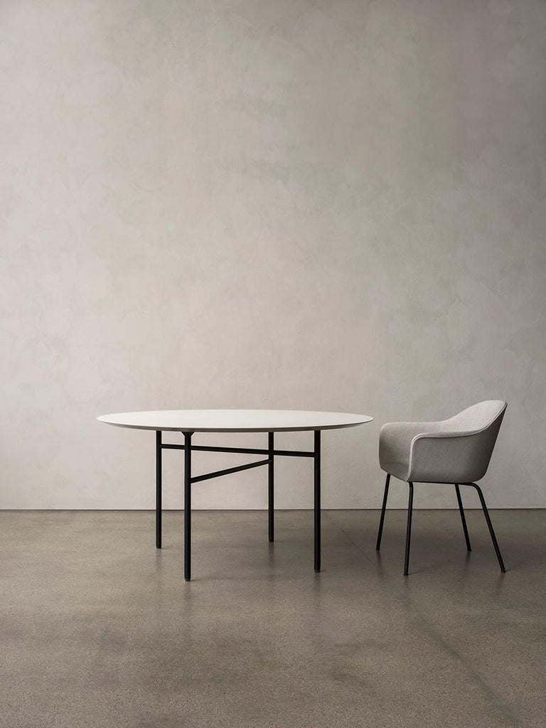 Bulgarian Snaregade Table, Round 54 in, Light Grey/Mushroom Linoleum, 2018 For Sale