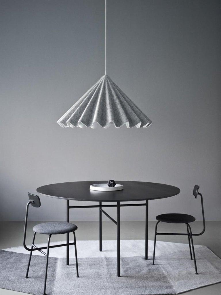 Painted Snaregade Table, Round 54 in, Light Grey/Mushroom Linoleum, 2018 For Sale