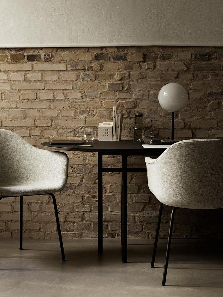 Contemporary Snaregade Table, Round 54 in, Light Grey/Mushroom Linoleum, 2018 For Sale