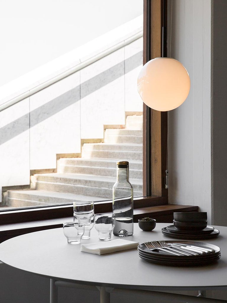 Steel Snaregade Table, Round 54 in, Light Grey/Mushroom Linoleum, 2018 For Sale