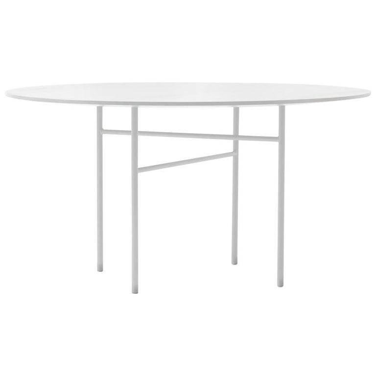 Snaregade Table, Round 54 in, Light Grey/Mushroom Linoleum, 2018 For Sale