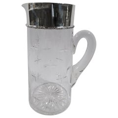 Snazzy American Art Deco Sterling Silver and Glass Bar Pitcher