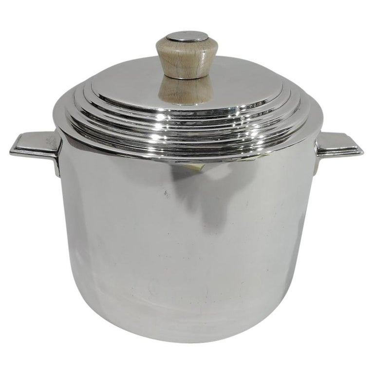 Snazzy English Art Deco Sterling Silver Ice Bucket For Sale