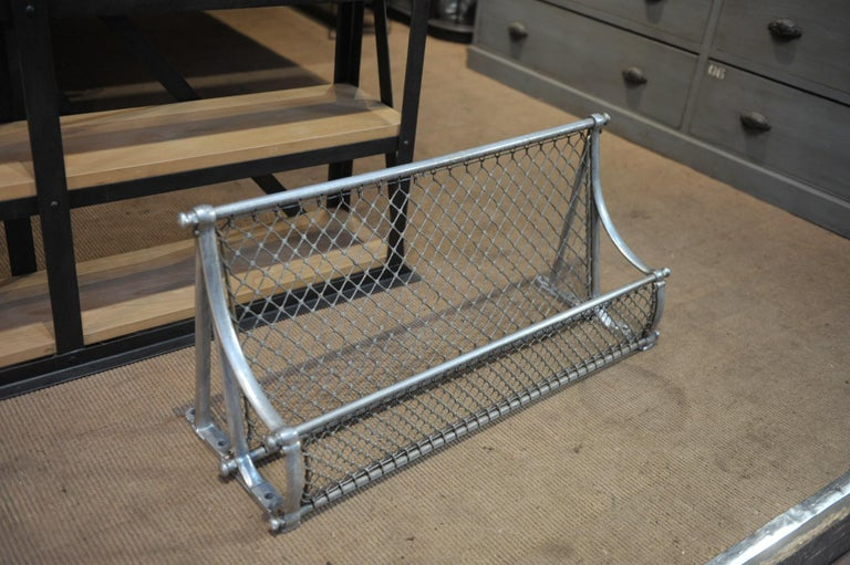 Luggage rack in aluminium and rope from SNCF French rail way wagon, circa 1950. Very good condition strong quality.