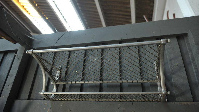 Aluminum SNCF French Rail Way Luggage Rack, 1950 For Sale
