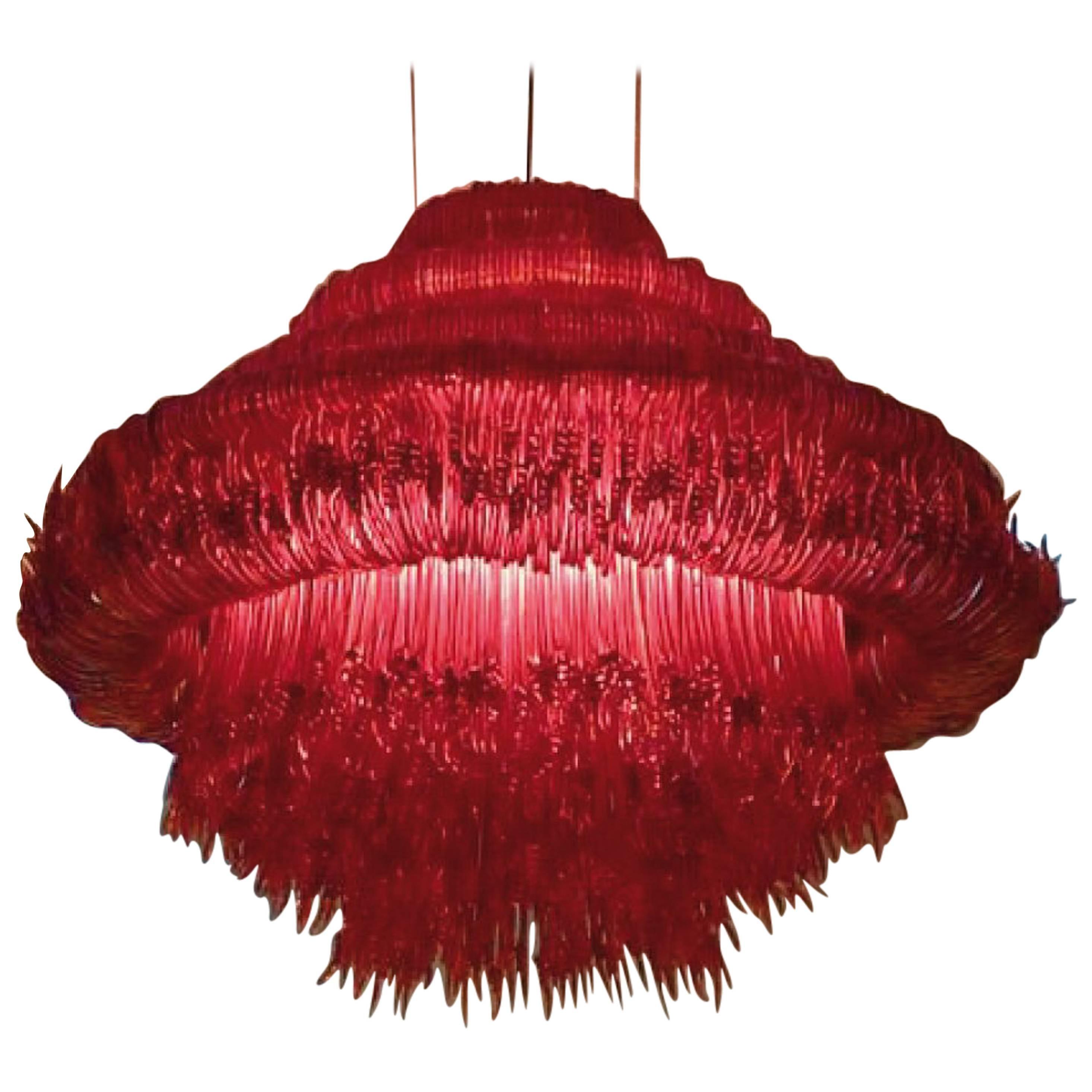 Sneeze A Chandelier in Red Resin by Jacopo Foggini