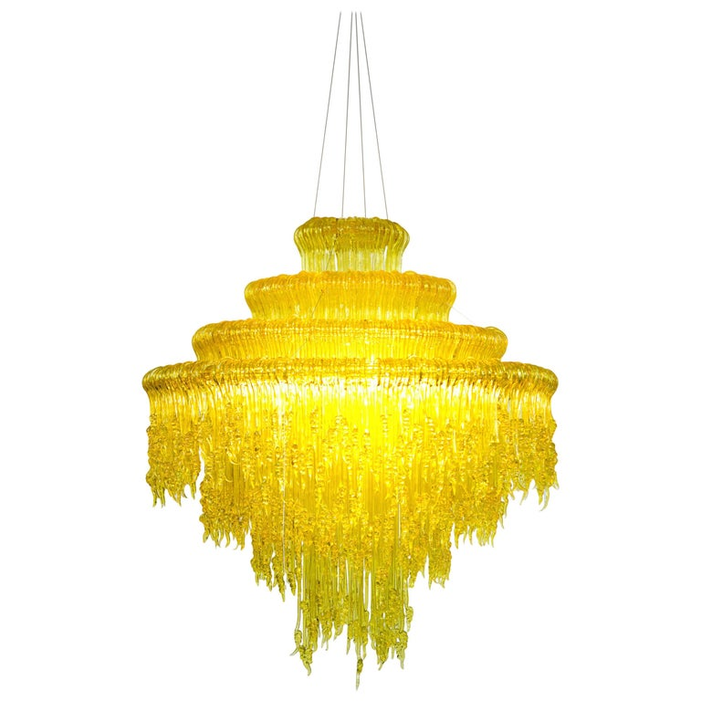 Sneeze B Chandelier in Yellow Resin by Jacopo Foggini For Sale
