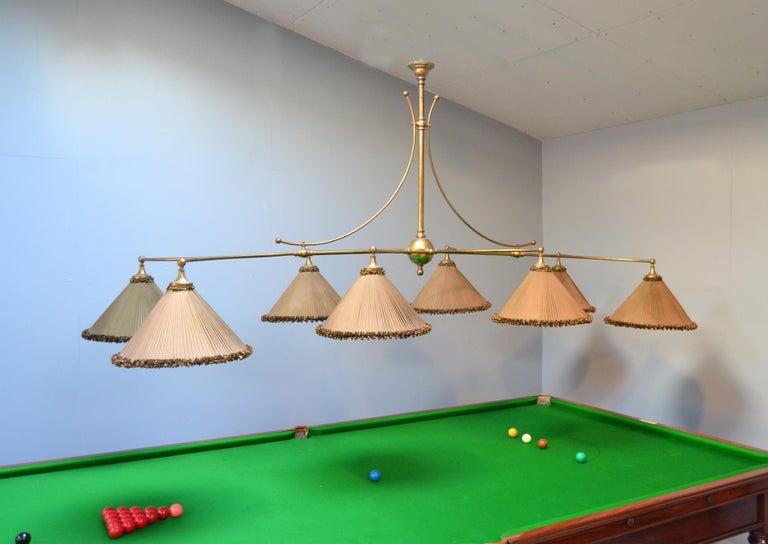 Snooker billiard pool light lamp brass silk victorian 1890 english