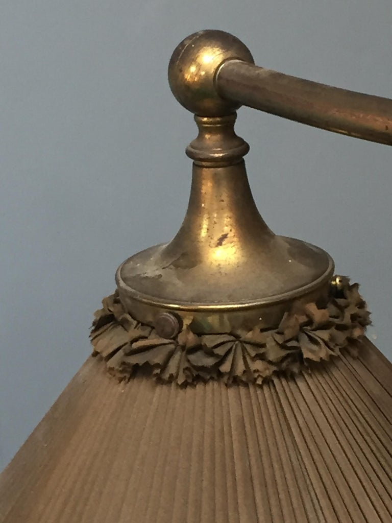 Brass Snooker billiard pool light lamp brass silk victorian 1890 english For Sale