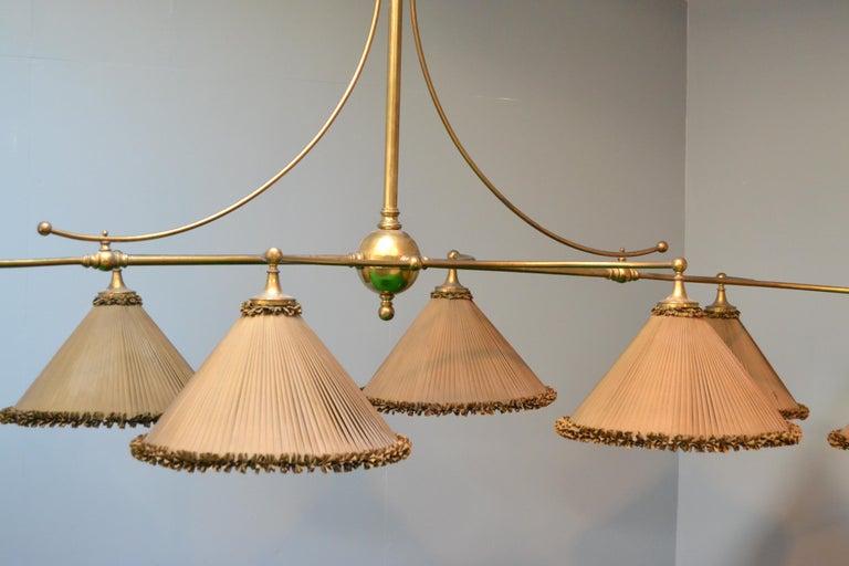 Snooker billiard pool light lamp brass silk victorian 1890 english For Sale 1
