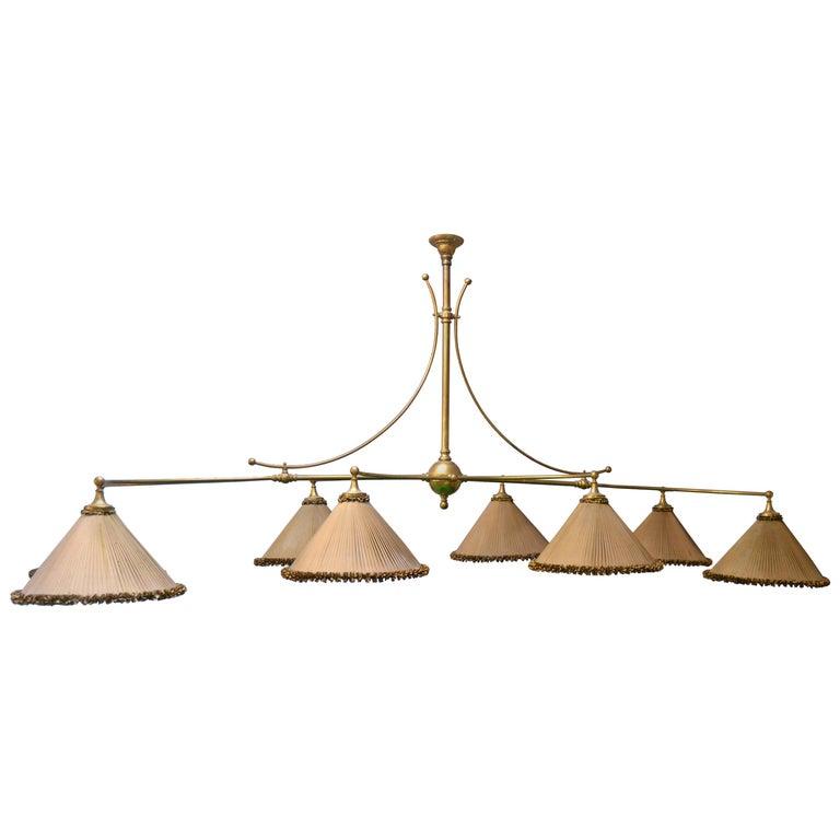 Snooker billiard pool light lamp brass silk victorian 1890 english For Sale