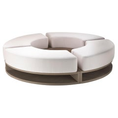 Snow Round Sofa in Solid Wood with Removable Cushions in Fabric, Outdoor