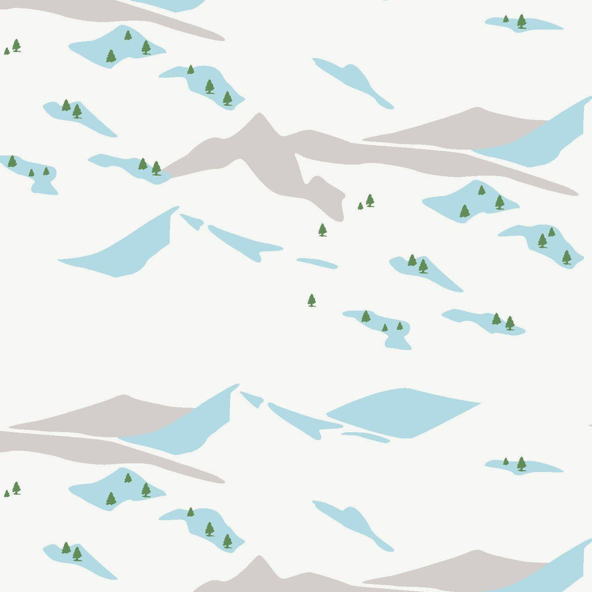 Snow Scene Designer Wallpaper in Avalanche 'Grey, Sky Blue and Dark Green'