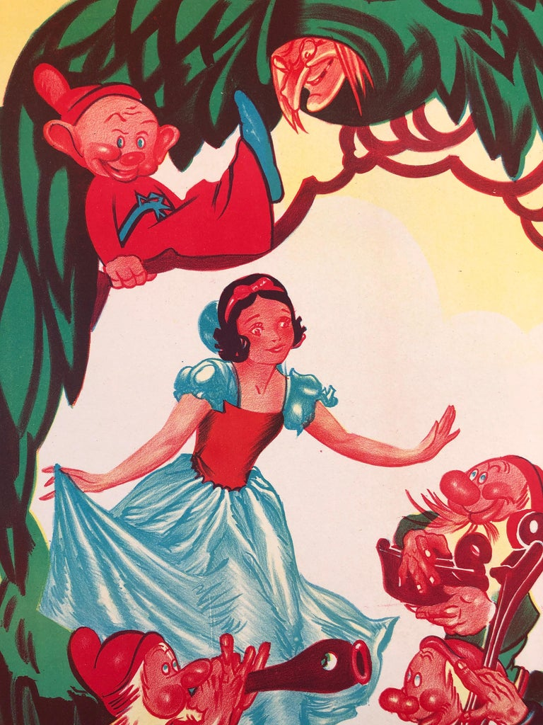 Paper 'Snow White and the Seven Dwarfs' French Movie Poster by Bernard Lancy, 1951 For Sale