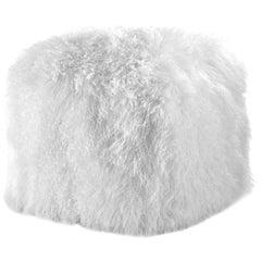 Snow White Fur Ottoman, Mongolian Sheepskin Pouf