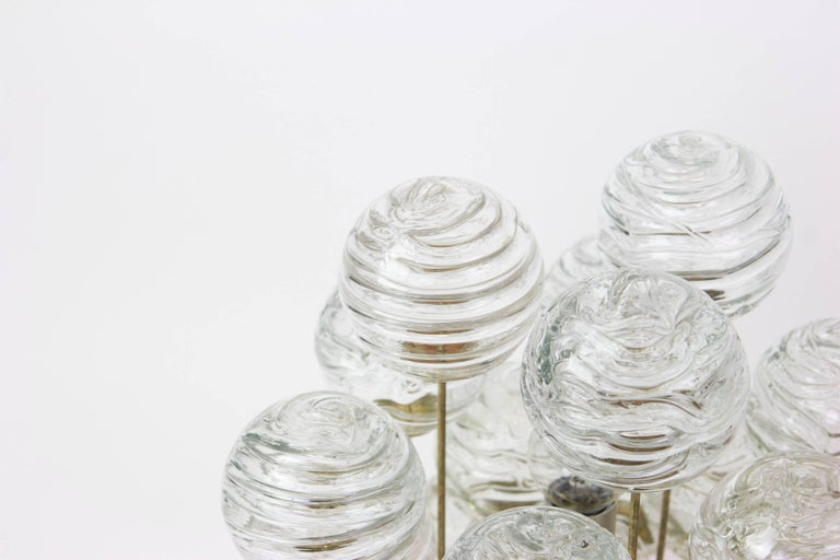 Mid-Century Modern Snowball Ice Glass Flush Mount by Doria, Germany, 1970s For Sale