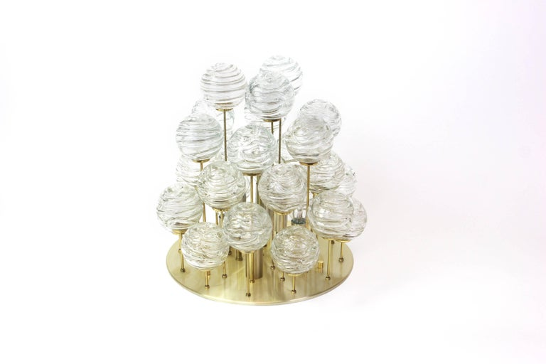 Snowball Ice Glass Flush Mount by Doria, Germany, 1970s In Excellent Condition For Sale In Aachen, DE