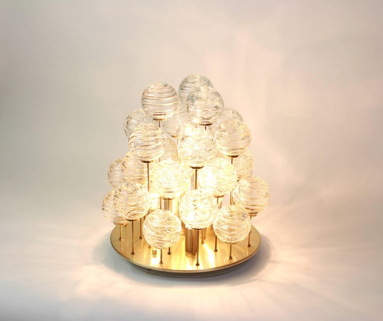 Late 20th Century Snowball Ice Glass Flush Mount by Doria, Germany, 1970s For Sale