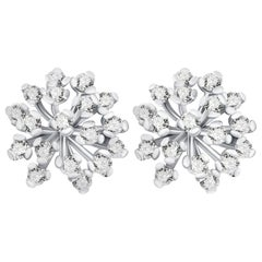 """Snowflake"" 14 Karat White Gold Diamond Stud Earrings"