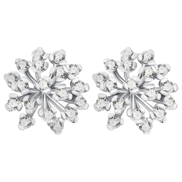Details about  /Genuine Diamonds .0075 ctw Snowflake Style Stud Earrings 14K White Yellow Gold