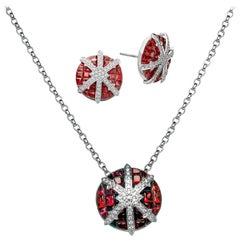 Snowflake 18 Karat White Gold Diamond Ruby Pendant Earring Necklace Suite Set