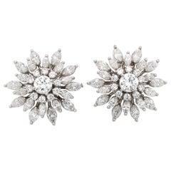 Snowflake Diamond Earrings, Brilliant and Marquise Cut