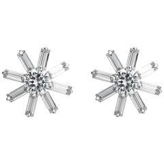 Snowflake Diamond Earrings in 18 Karat White Gold