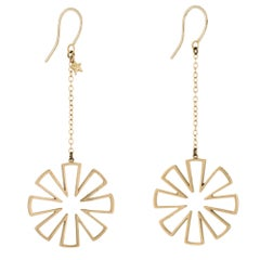 Snowflake Drop Earrings Estate 14 Karat Yellow Gold Stars Long Dangle Jewelry