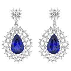 Snowflake Tanzanite & Diamond Earring in 18 Karat White Gold