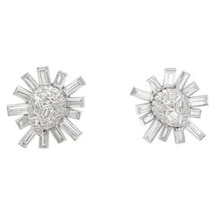 Snowflakes Clip-On Earrings, Platinum and Diamonds