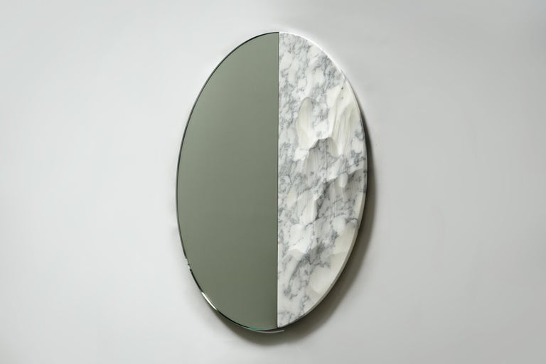Art Deco Snowmotion Carved Carrara Marble Rounded Mirror For Sale