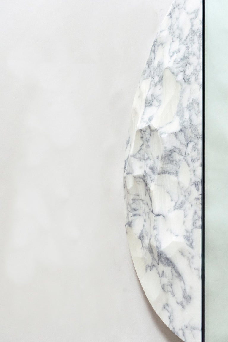 Snowmotion Carved Carrara Marble Rounded Mirror In New Condition For Sale In Brooklyn, NY