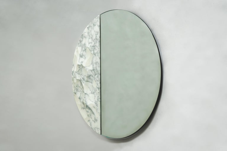 Contemporary Snowmotion Carved Carrara Marble Rounded Mirror For Sale