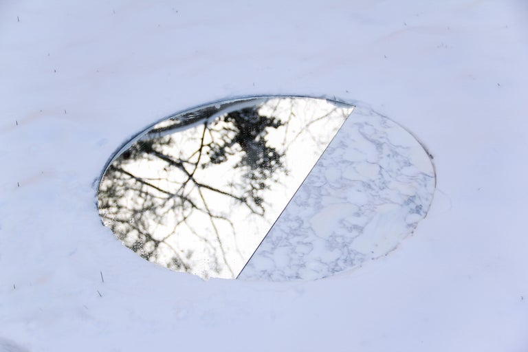 Snowmotion Carved Carrara Marble Rounded Mirror For Sale 2