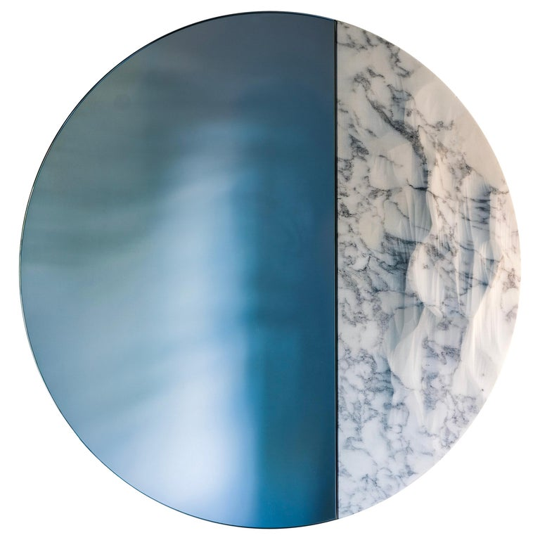 Snowmotion Carved Carrara Marble Rounded Mirror For Sale