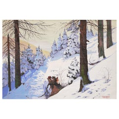 Mountain Winter Painting, Snow Forest, Oil on Canvas by Hans Geringer, 1920