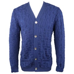S.N.S HERNING Size M Blue Textured Knit V Neck Cardigan