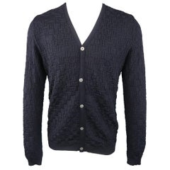 S.N.S HERNING Size M Navy Wool Textured Knit V Neck Cardigan