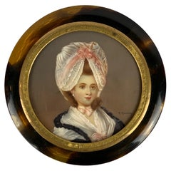 Round Snuff Box with Miniature Portrait of a Lady-England, 19th c.