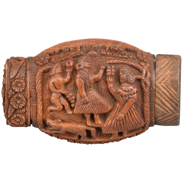 Snuff or Tobacco Box, Wood, 19th Century For Sale