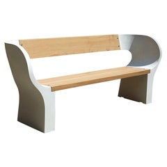 Concrete and Timber Outdoor Snug Bench, 180cm wide