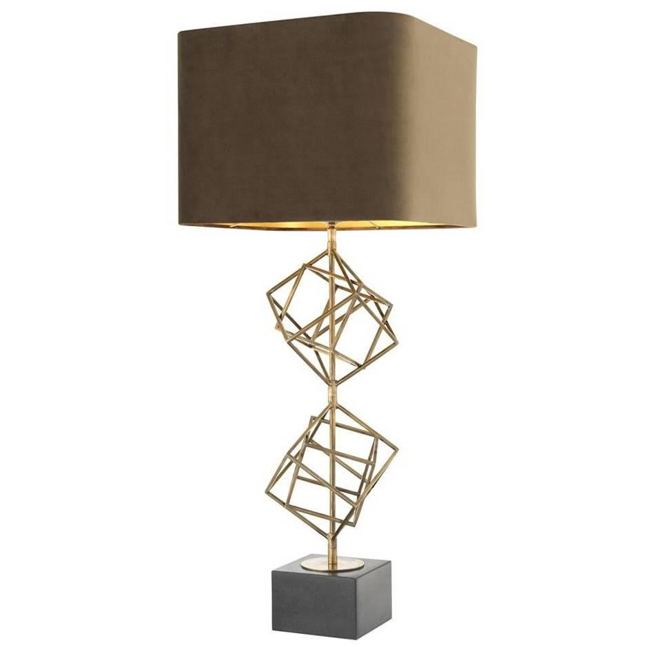 So Cube Table Lamp in Vintage Brass or in Nickel Finish