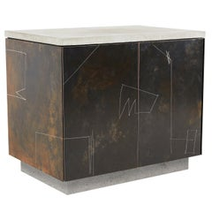 S.O. Side Table Cabinet with Drawn Faces in Walnut, Steel and Concrete