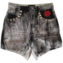 SOAB Black grey swarovsky and sequins shorts