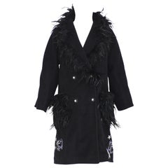 Soab black wool feathers swarovsky coat