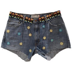 SOAB Blue cotton denim with flowers, passementerie and fringes shorts