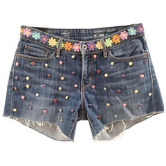 SOAB blue denim cotton flowers and beads shorts
